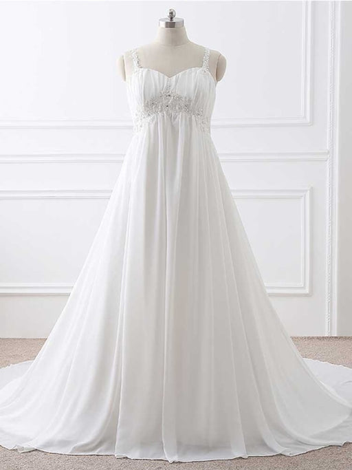 Gorgeous Spaghetti Straps A-Line Ruffles Wedding Dresses - Ivory / Floor Length - wedding dresses