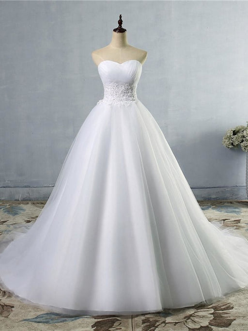 Gorgeous Sweetheart Cathedral Ball Gown Wedding Dresses - White / Floor Length - wedding dresses