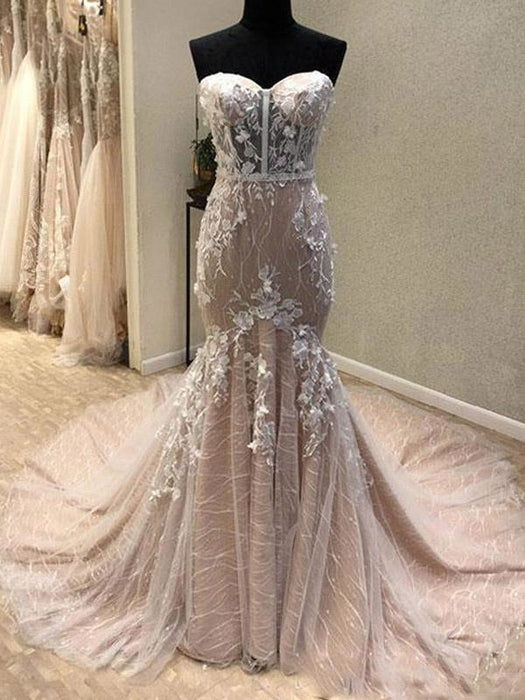 Gorgeous Sweetheart Mermaid Lace Appliqued Strapless Wedding Dress - Wedding Dresses