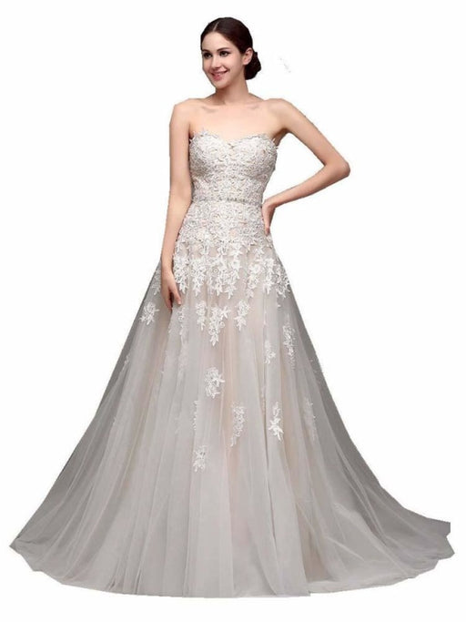 Gorgeous Swetheart Sleeveless Tulle Wedding Dresses - White / Floor Length - wedding dresses