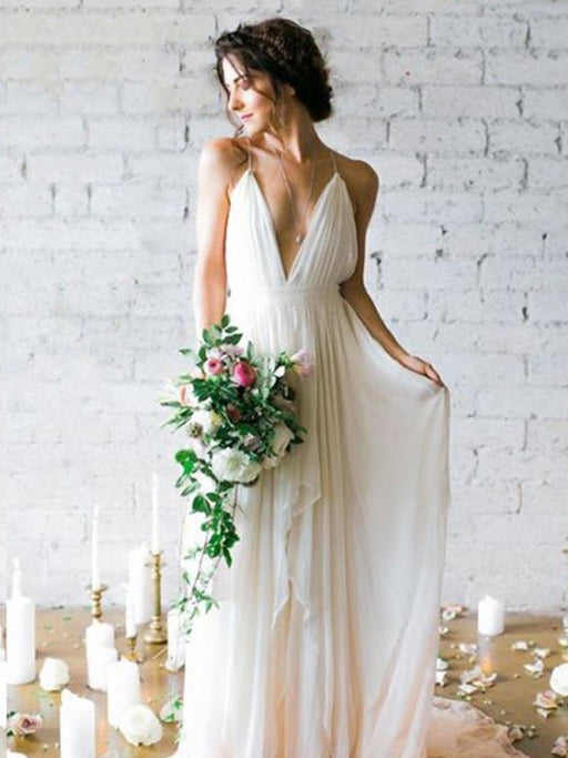 Gorgeous V-Neck Backless Ruffles Wedding Dresses - Ivory / Floor Length - wedding dresses