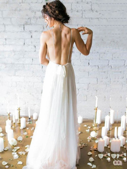 Gorgeous V-Neck Backless Ruffles Wedding Dresses - wedding dresses