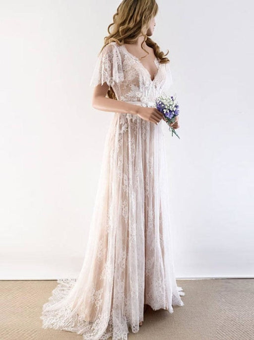 Gorgeous V-Neck Cap Sleeves Lace Wedding Dresses - As Picture / Floor Length - wedding dresses