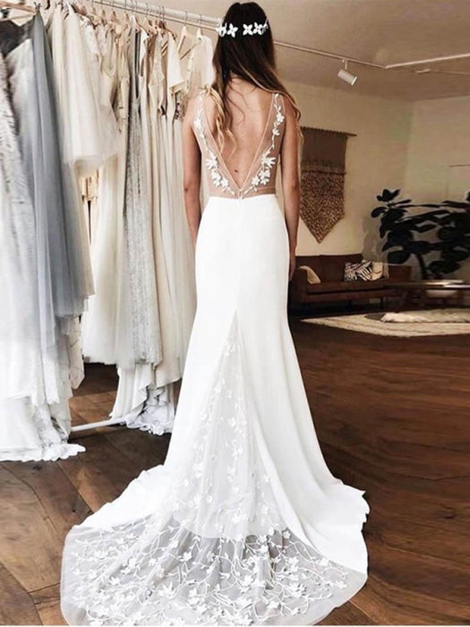 Gorgeous V-neck Lace Backless Mermaid Wedding Dresses - wedding dresses