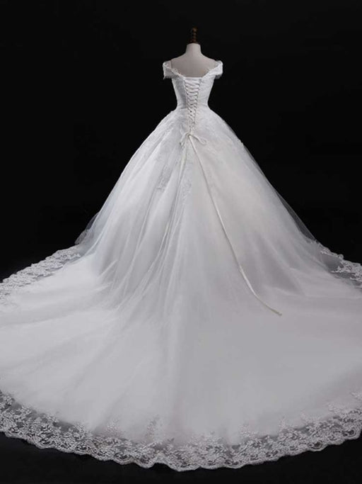 Gorgeous V-Neck Lace Tulle Ball Gown Ruffles Wedding Dresses - wedding dresses