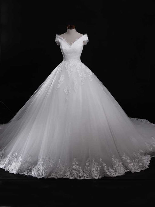 Gorgeous V-Neck Lace Tulle Ball Gown Ruffles Wedding Dresses - Ivory / Floor Length - wedding dresses