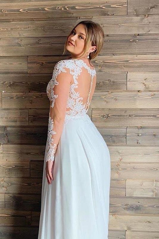 Gorgeous V-Neck Long Sleeves Lace Ruffles Wedding Dresses - wedding dresses