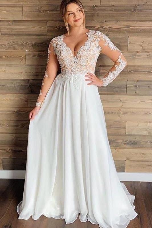 Gorgeous V-Neck Long Sleeves Lace Ruffles Wedding Dresses - Ivory - wedding dresses