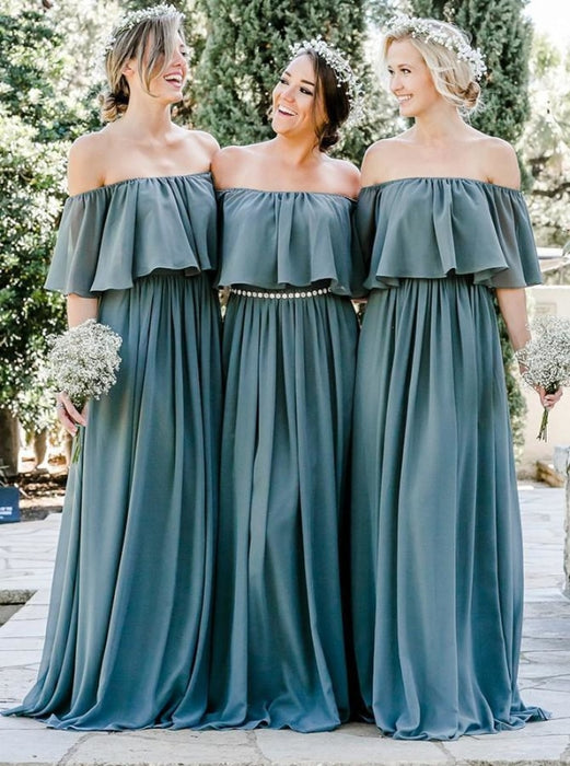 Graceful A-Line Blue Chiffon Bridesmaid Dress - Bridesmaid Dresses