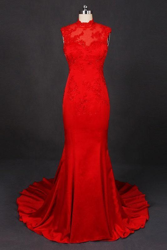 Graceful Amazing Red High Neck Sleeveless Satin Evening Dress Appliques Prom Dresses - Prom Dresses