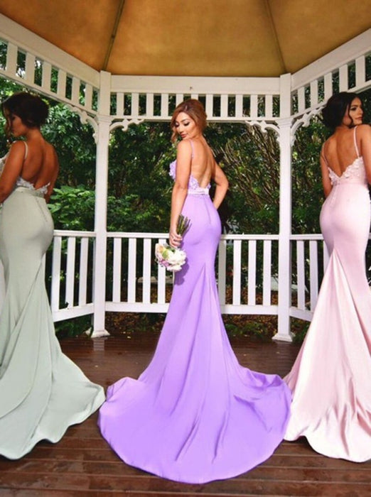 Graceful Sweetheart Mermaid Appliques Backless Bridesmaid Dresses - Bridesmaid Dresses