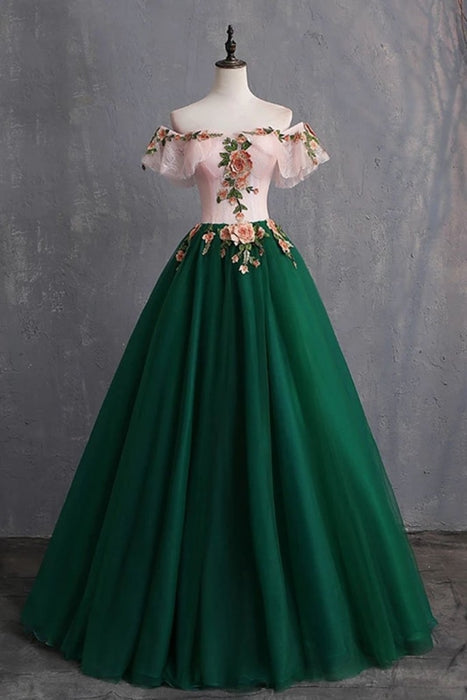 Green Off the Shoulder Floor Length Prom with Appliques Puffy Quinceanera Dress - Prom Dresses
