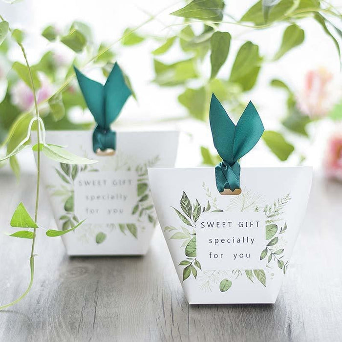 Green Tree Leaves Ribbon Bowknot Favor Holders | Bridelily - favor holders