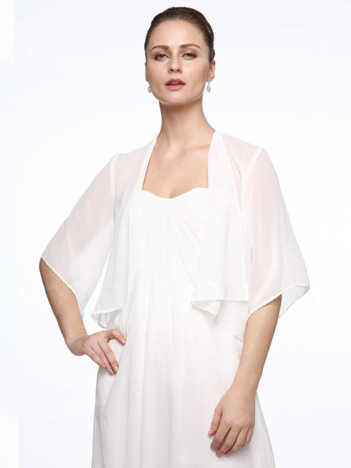 Half Sleeve Polyester Chiffon Wedding Party Wrap | Bridelily - wedding wraps
