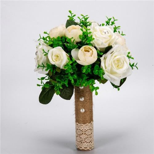 Handmade Artificial Flowers Wedding Bouquets | Bridelily - white green - wedding flowers