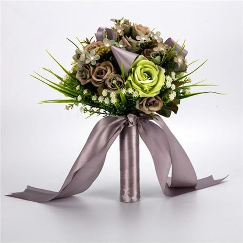Handmade Artificial Flowers Wedding Bouquets | Bridelily - brown green - wedding flowers