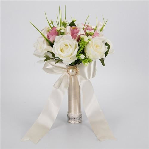 Handmade Artificial Flowers Wedding Bouquets | Bridelily - white pink - wedding flowers