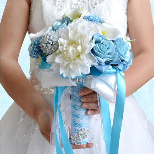 Handmade Blue White Wedding Bouquets | Bridelily - wedding flowers