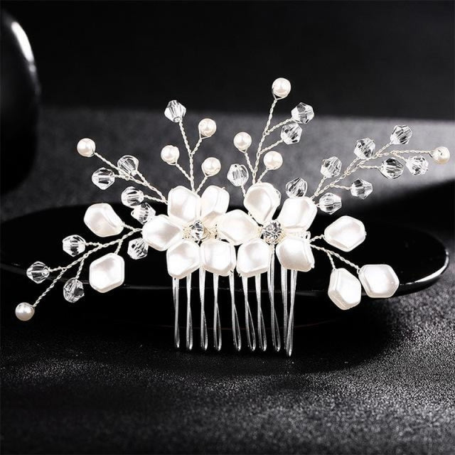 Handmade Crystal Rhinestone Pearl Combs & Barrettes | Bridelily - Ivory White - combs and barrettes