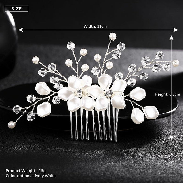 Handmade Crystal Rhinestone Pearl Combs & Barrettes | Bridelily - combs and barrettes
