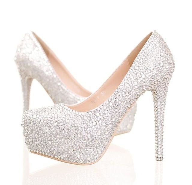Handmade Diamond High Heels Wedding Pumps | Bridelily - white 1 / 34 - wedding pumps