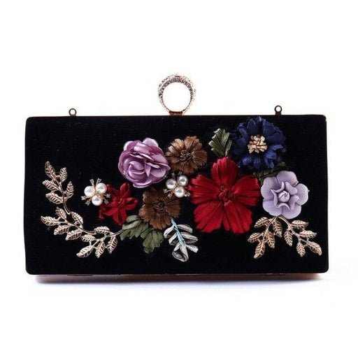 Handmade Flower Colorful Diamond Wedding Handbags | Bridelily - One Size / Black - wedding handbags