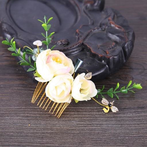 Handmade Flower Jewelry Floral Headpieces | Bridelily - Gold - floral headpieces