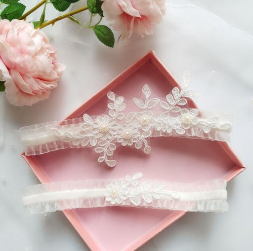 Handmade Lace Mesh Belt Wedding Garters | Bridelily - White / One size - garters