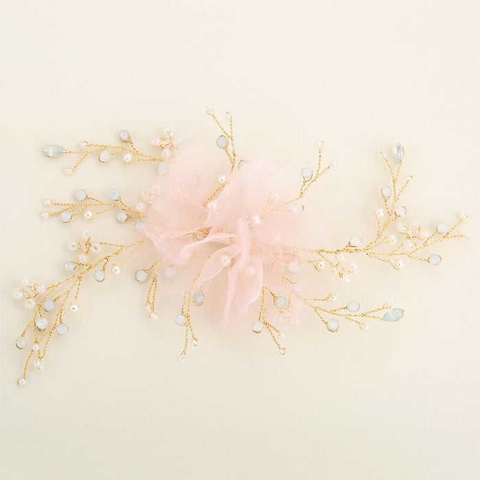 Handmade Pink Flowers Fashion Womens Combs & Barrettes | Bridelily - combs and barrettes