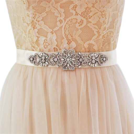 Handmade Rhinestone Crystals Wedding Sashes | Bridelily - Beige / One Size - wedding sashes
