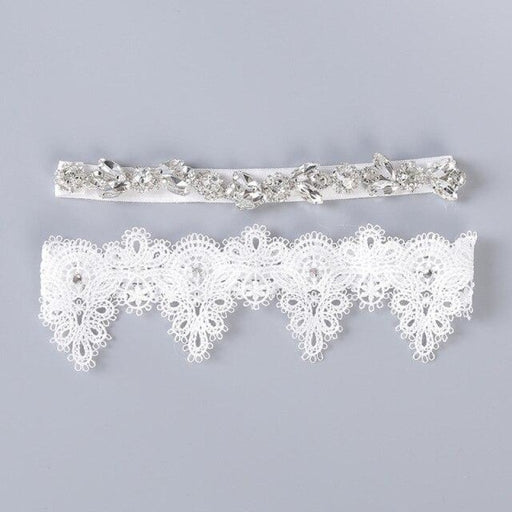 Handmade Rhinestone Flower Wedding Garters | Bridelily - One size / White - garters