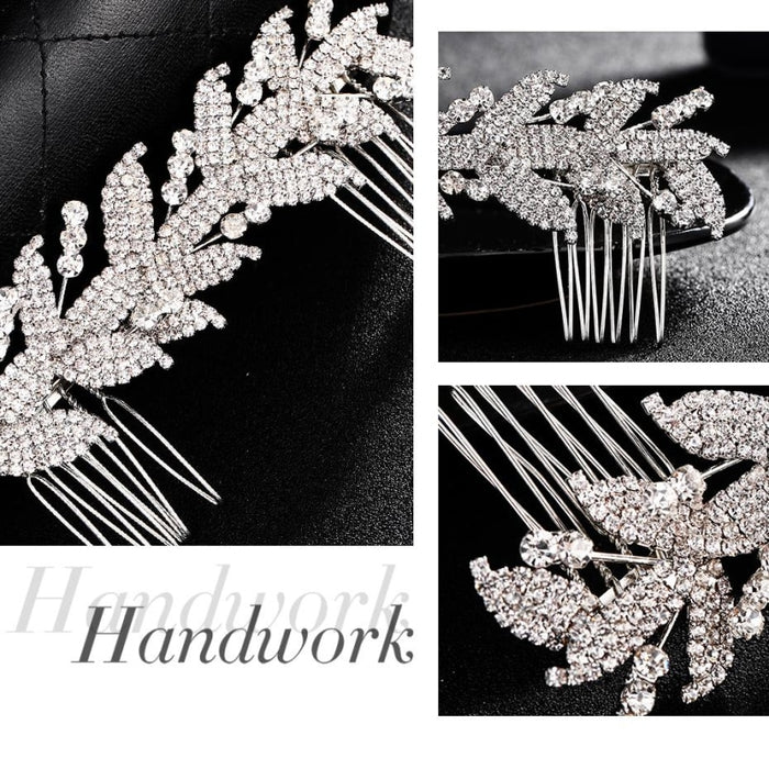 Handmade Rhinestone Leaf Hair Pin Combs & Barrettes | Bridelily - combs and barrettes