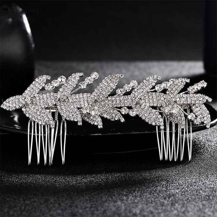 Handmade Rhinestone Leaf Hair Pin Combs & Barrettes | Bridelily - Silver - combs and barrettes