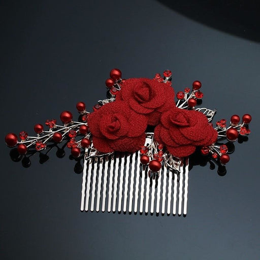 Handmade Rhinestone Popular Floral Headpieces | Bridelily - Red - floral headpieces