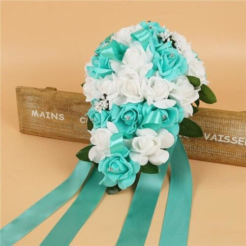 Handmade Ribbon Rose Flower Wedding Bouquets | Bridelily - mint green - wedding flowers