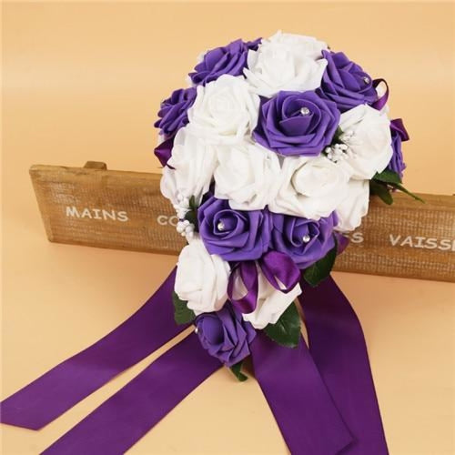 Handmade Ribbon Rose Flower Wedding Bouquets | Bridelily - purple - wedding flowers