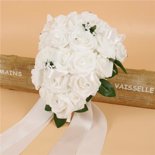 Handmade Ribbon Rose Flower Wedding Bouquets | Bridelily - white - wedding flowers