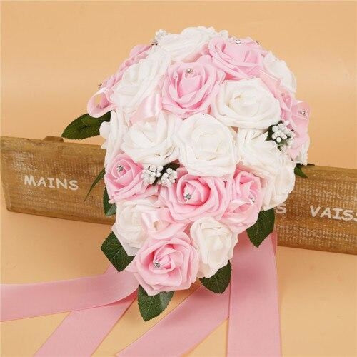 Handmade Ribbon Rose Flower Wedding Bouquets | Bridelily - pink - wedding flowers