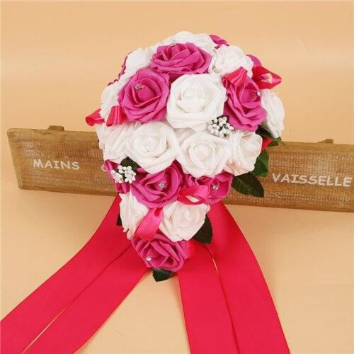 Handmade Ribbon Rose Flower Wedding Bouquets | Bridelily - rose red - wedding flowers