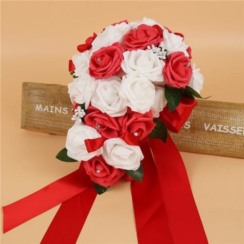 Handmade Ribbon Rose Flower Wedding Bouquets | Bridelily - red - wedding flowers