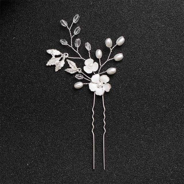 Handmade White Crystal Pearls Womens Hairpins | Bridelily - Silver - hairpins
