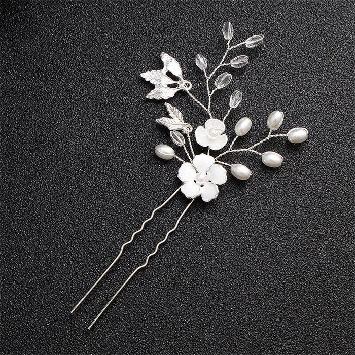 Handmade White Crystal Pearls Womens Hairpins | Bridelily - hairpins