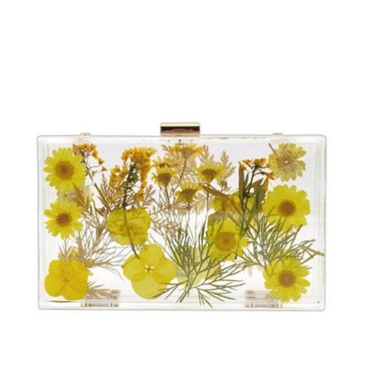Hard Flower Transparent Chain Wedding Handbags | Bridelily - wedding handbags