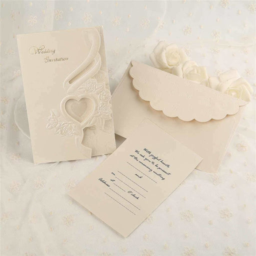 Heart Hollow Style Tri-Fold Invitation Cards (Set of 50) | Bridelily - As shown in the picture / English / Blank - invitation cards