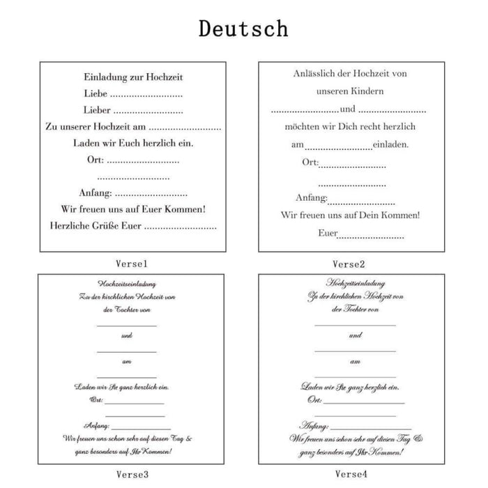 Heart Imprint Side Fold Invitation Cards (Set of 50) | Bridelily - As shown in the picture / Deutsch / Verse1 - invitation cards