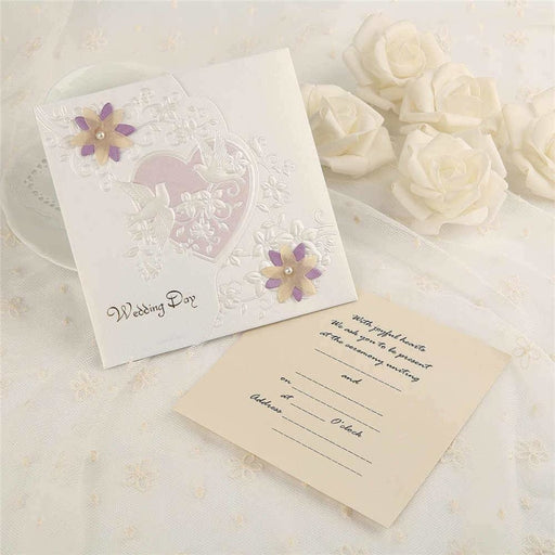 Heart Imprint Side Fold Invitation Cards (Set of 50) | Bridelily - invitation cards