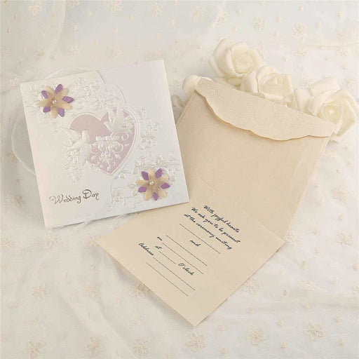 Heart Imprint Side Fold Invitation Cards (Set of 50) | Bridelily - As shown in the picture / English / Blank - invitation cards
