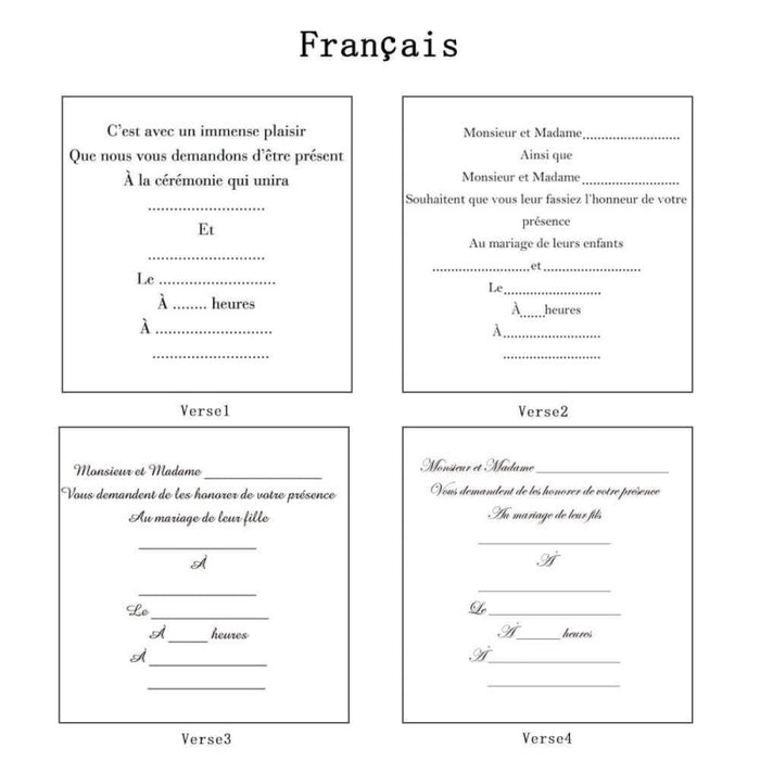 Heart Imprint Side Fold Invitation Cards (Set of 50) | Bridelily - As shown in the picture / French / Verse1 - invitation cards