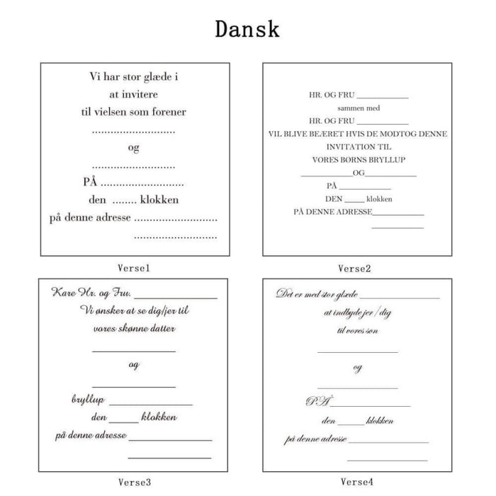 Heart Imprint Side Fold Invitation Cards (Set of 50) | Bridelily - As shown in the picture / Dansk / Verse1 - invitation cards