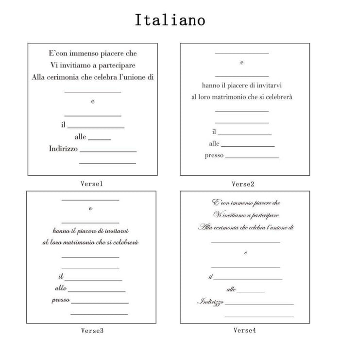 Heart Imprint Side Fold Invitation Cards (Set of 50) | Bridelily - As shown in the picture / Italiano / Verse1 - invitation cards